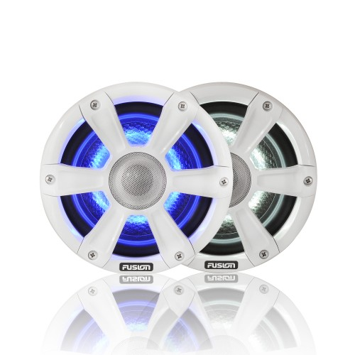 "Fusion SG-FL65SPW 6.5"" 230 WATT Coaxial Sports White Marine Speaker with LED's"