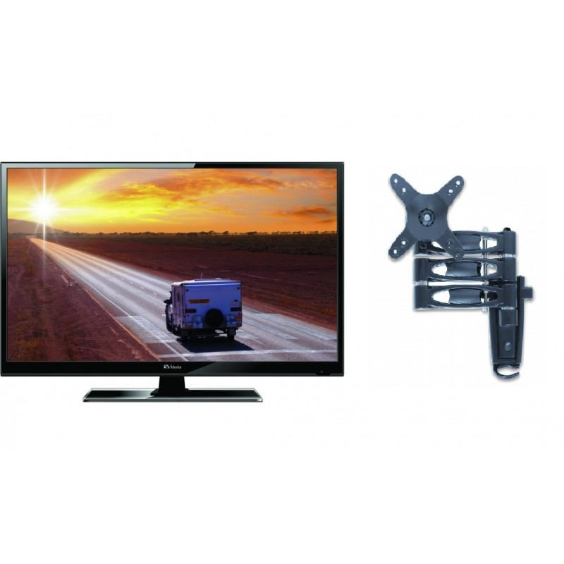 RV Media 19 Inch 12V LED TV with 3 Arm TV Mount