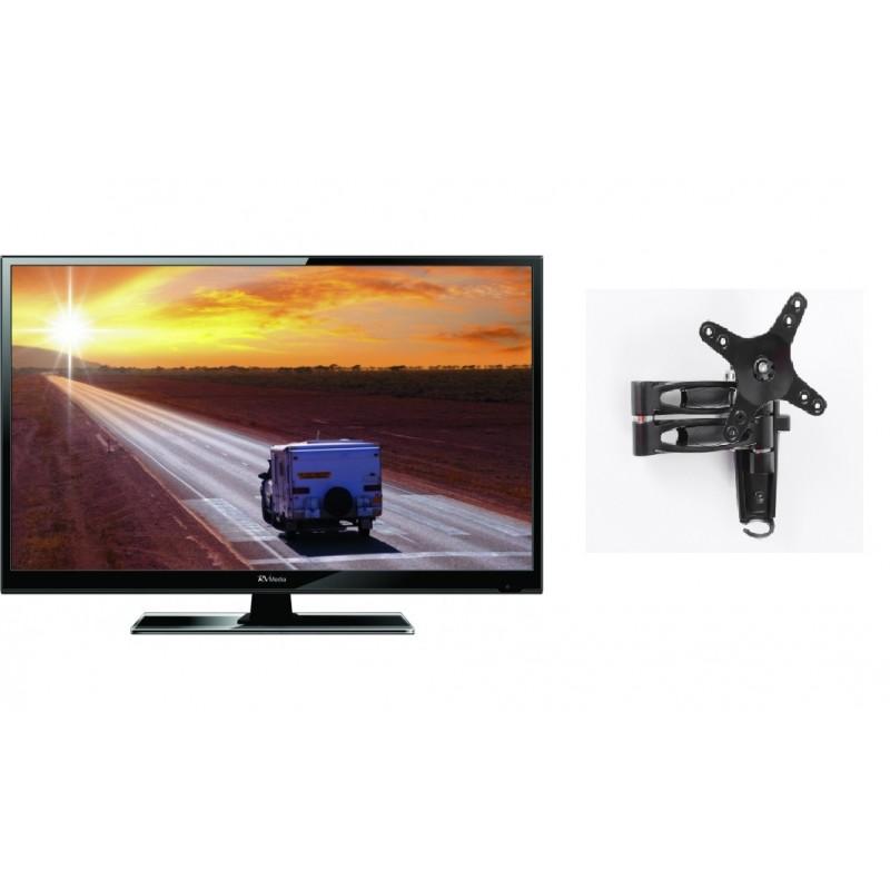 RV Media 19 Inch 12V LED TV with 2 Arm TV Mount