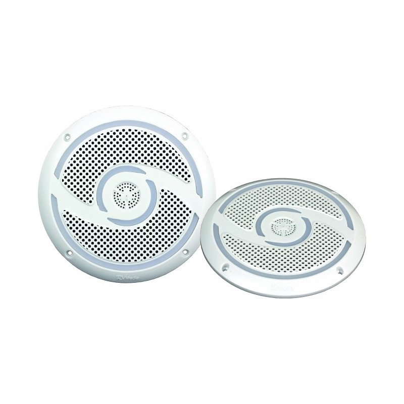 RV Media 6 Inch Waterproof Outdoor Speaker Pair - White