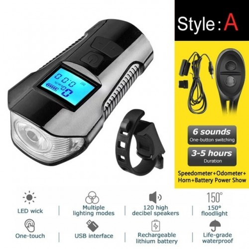 4 Mode USB Bicycle Light Lamp & Bike Computer 6 Mode Horn Flashlight Cycle Bike Speedometer Led Front Lights Cycling Headlight