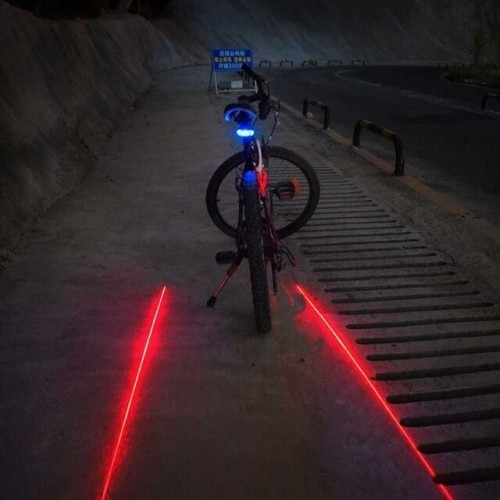 WasaFire LED Bike Taillight 7 Cool Flash Modes Safety Warning Flashlight 5 LED+2 Laser Night Mountain Cycling Rear Tail Light