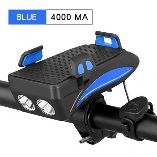 3 In 1 Bike Light USB Highlight Bicycle Phone Holder Light Cycling Horn Led Light Power Bank Mobile Phone Bracket Rechargeable