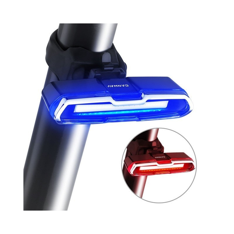 Bike Tail Light Ultra Bright Bike Light USB Rechargeable LED Bicycle Rear Light 5 Light Mode Headlights with Red + Blue
