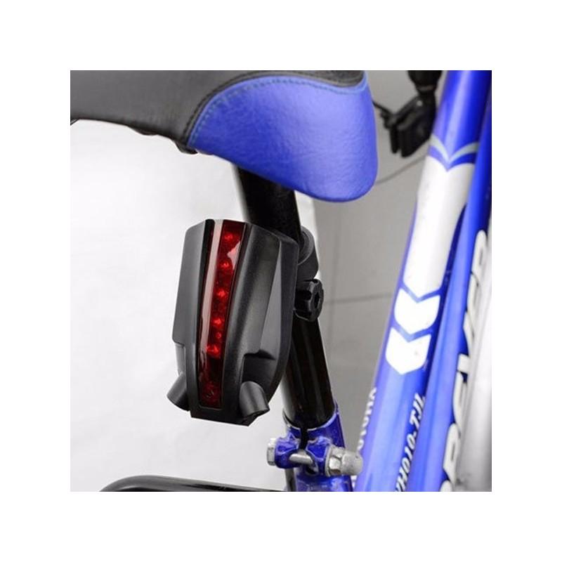 """LED Bicycle Bike Light Night 2 Laser+5 LED Rear Bike Bicycle Tail Light Beam """"bike logo""""Safety Warning Red Rear Lamp Waterproof"""