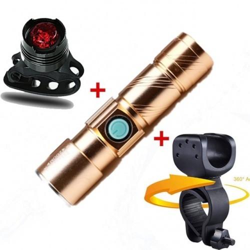 3 in1 8000 Lumen Bike Bicycle Light Set USB rechargeable LED Waterproof Super Bright Zoom Headlight Rear light MTB Bike Light