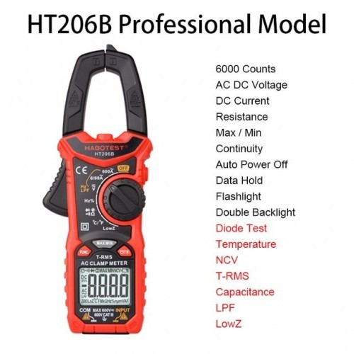 AC DC Digital Clamp Meter Multimeter True RMS High Precision Capacitance NCV Ohm Hz Tester