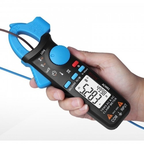 Digital Clamp Meter AC/DC Current 1mA True RMS Auto Range Live Check NCV Temp Frequency Capacitor Tester Multimeter