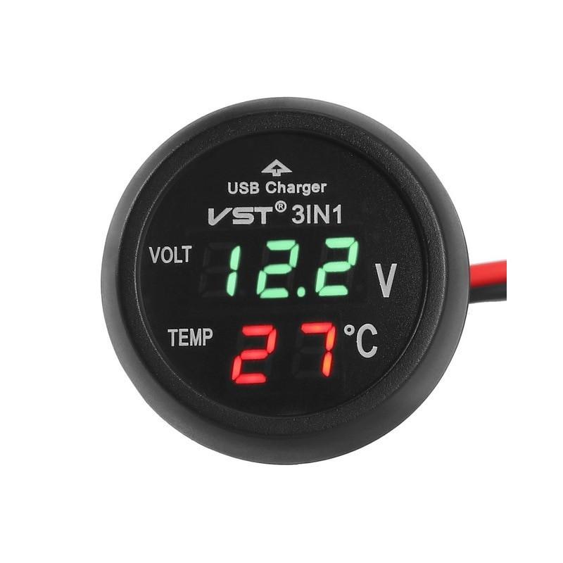 12V/24V Digital Meter Monitor 3 in 1 LED USB Car Charger Voltmeter Thermometer Car Battery Monitor LCD Digital Dual Display