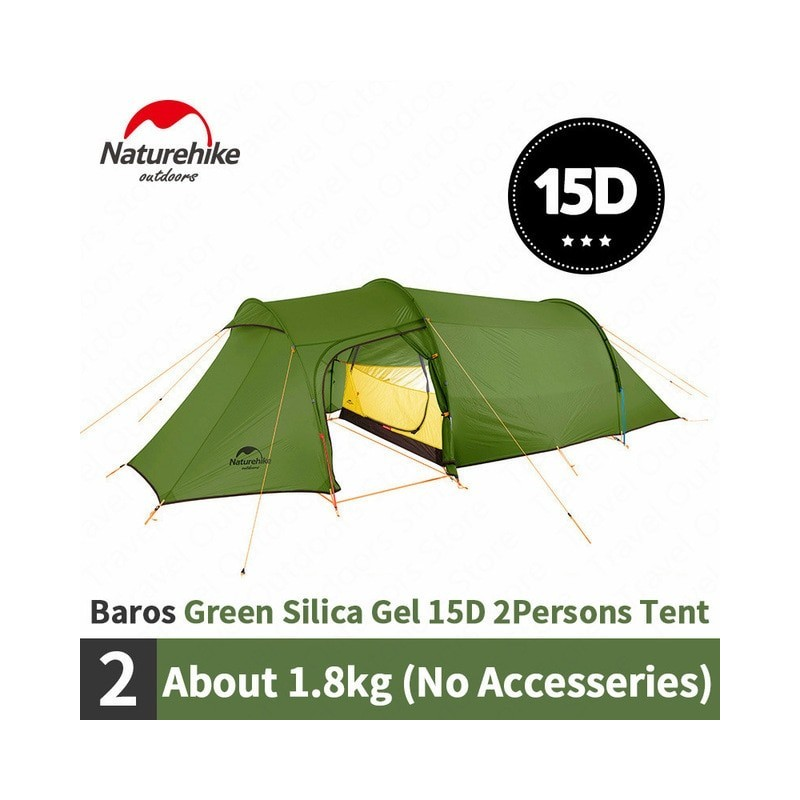 Naturehike Camping Tent Opalus Tunnel 2-4 Persons 4 Seasons Tent Ultralight Waterproof 15D/20D/210T Fabric Tourist Tent With Mat