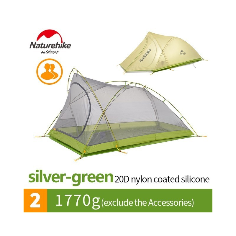 Naturehike Cirrus Ultralight Tent 2 Person 20D Nylon with Silicon Coated Camping Tent with free Mat NH17T0071-T