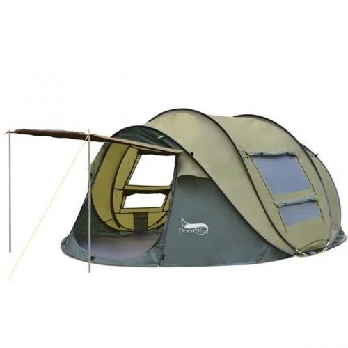 Desert&Fox Outdoor Camping Tents 3-4 Person Automatic Pop Up Instant Tent Hiking Travelling Tourist Fishing Beach Tents Awnings