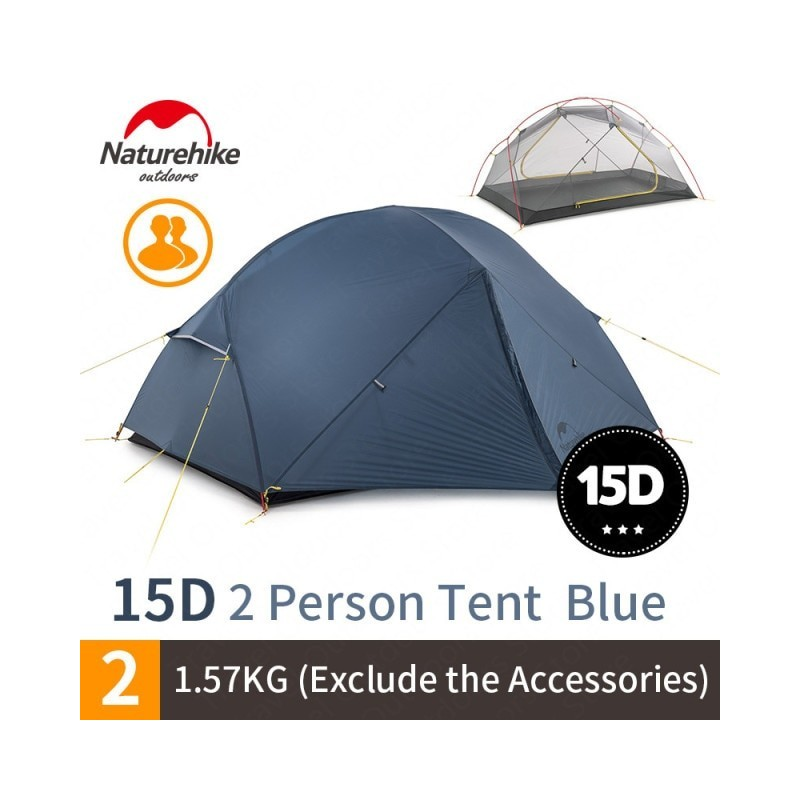 NatureHike Mongar Camping Tent 2 Persons Ultralight 20D Nylon Aluminum Alloy Pole Double Layer Outdoor Hiking Tent NH17T007-M