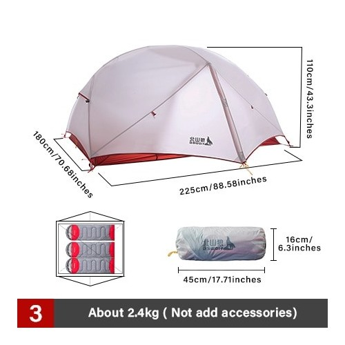 BSWolf 2 Persons Camping Tent Ultralight 20D 380T Nylon Double Layer Waterproof Backpacking Tent for Hiking Travel with free mat