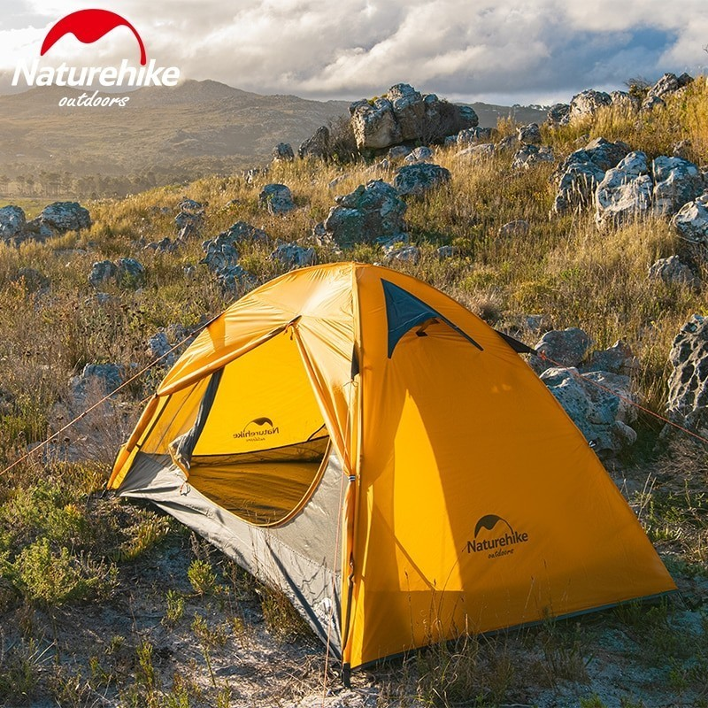 Naturehike 2 People Ultralight 20D Camping Tent Outdoor Cycling Trekking Hiking Backpacking Tents Waterproof PU4000 Green Orange