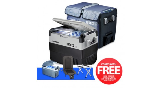 Dometic Waeco CFX65DZ with cover Portable Fridge Model with Fridge Stand, Air Conditioned Seat Cover, Mini Cooler